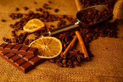 Chocolate y café Fotos de archivo