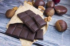 Chocolate y castañas Foto de archivo libre de regalías