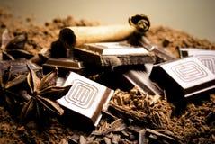 Chocolate y especias Fotografía de archivo libre de regalías