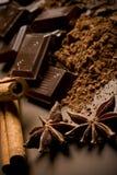 Chocolate y especias Imagen de archivo libre de regalías