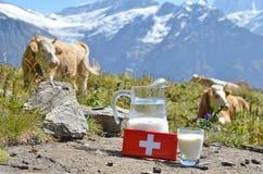 Chocolate y jarro suizos de leche imagenes de archivo