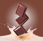 Chocolate y leche Imágenes de archivo libres de regalías