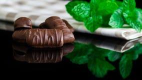 Chocolate y menta Imagen de archivo libre de regalías