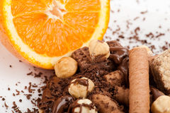 Chocolate y obleas con la naranja 2 Foto de archivo