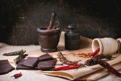 Chocolate y pimienta Fotos de archivo libres de regalías