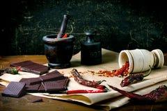 Chocolate y pimienta Foto de archivo