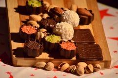 Chocolate y pistacho finos Imágenes de archivo libres de regalías