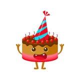 Chocolate y sombrero de Cherry Birthday Cake In Party, feliz cumpleaños y personaje de dibujos animados del símbolo del partido d Imagen de archivo