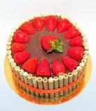 Chocolate y torta de las fresas Imagen de archivo