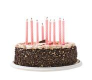 Chocolate y velas de la torta Fotografía de archivo