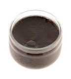Chocolate yogurt. Isolated on white royalty free stock photography