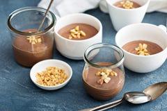 Chocolate yogurt dessert with salted peanuts stock photos
