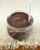 Chocolate yogurt on table Royalty Free Stock Photography