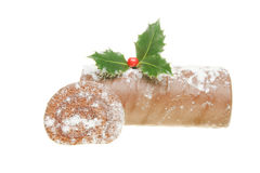 Chocolate yule log Royalty Free Stock Photography
