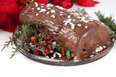 Chocolate Yule Log Stock Images