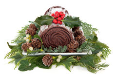 Chocolate Yule Log Royalty Free Stock Images
