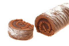 Chocolate yule log Stock Image