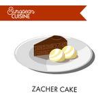 Chocolate zacher cake with ice cream balls from European cuisine Royalty Free Stock Photo
