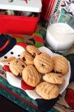 Chocolatechip Cookies on Christmas Plate Stock Photos