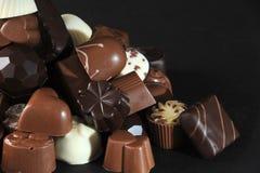 Chocolates. Selection of delicious hand made luxury chocolates stock photo