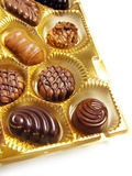 Chocolates. Open box of assorted chocolates Royalty Free Stock Image