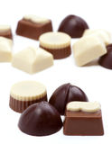 Chocolates. Spread on bottom edge bonbons royalty free stock photo