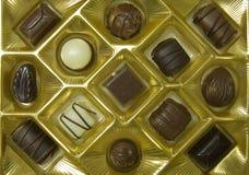 Chocolates. Valentines chocolate assortment in box Stock Photo