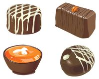 Chocolates. Set of four vector sweets and chocolates Stock Image