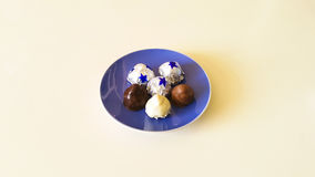 Chocolates. With almond, coconut and hazelnuts in dark, milk, white chocolate Stock Images