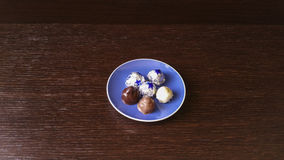 Chocolates. With almond, coconut and hazelnuts in dark, milk, white chocolate Royalty Free Stock Photography