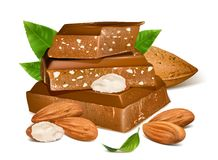 Chocolates with almonds Stock Images