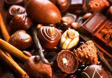 Chocolates assortment. Praline chocolate sweets Royalty Free Stock Image