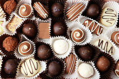 Chocolates background. close up, brown Stock Photo