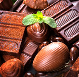 Chocolates background. Praline chocolate Stock Images