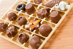 Chocolates in box Stock Image