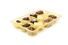 Chocolates in a box Stock Images