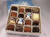 Chocolates in a box. stock images