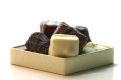 Chocolates in a box. Belgian chocolates in a small box Royalty Free Stock Image