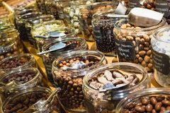 Chocolates by the bulk. The candy store`s bulk chocolates section stock photo