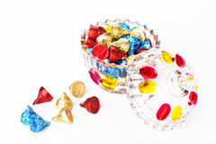 Chocolates and candy box Stock Photos