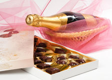 Chocolates and champagne. Royalty Free Stock Images