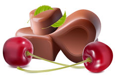Chocolates with cherries. Stock Photo