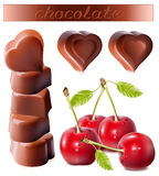 Chocolates with cherries. Photo-realistic  illustration of chocolates. Heart-shaped chocolates with cherries Stock Image
