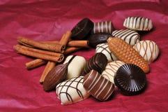 Chocolates with cinnamon Stock Photo