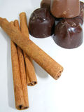 Chocolates with cinnamon sticks Royalty Free Stock Image