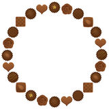 Chocolates circle. Various chocolates circle. Valentine's Day Stock Photography