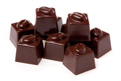 Chocolates clasificados con el nutwood. Imagenes de archivo