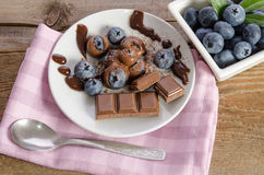 Chocolates and cocoa powder with blueberries in a porcelain dish Royalty Free Stock Photo