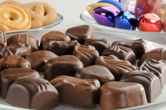 Chocolates and cookies Royalty Free Stock Photos