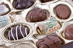 Chocolates costosos Fotos de archivo libres de regalías